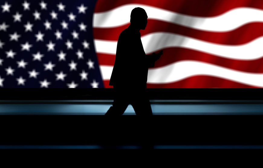 American flag and man